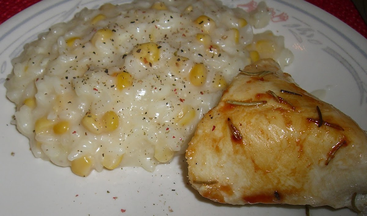 Corn Risotto with Rosemary Chicken