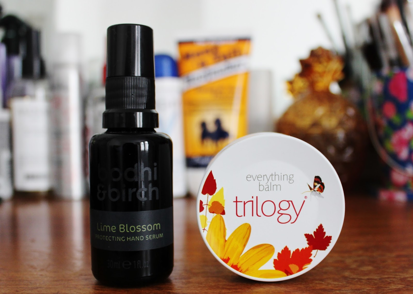 Bodhi & Brich lime blossom hand serum and Trilogy Everything Balm