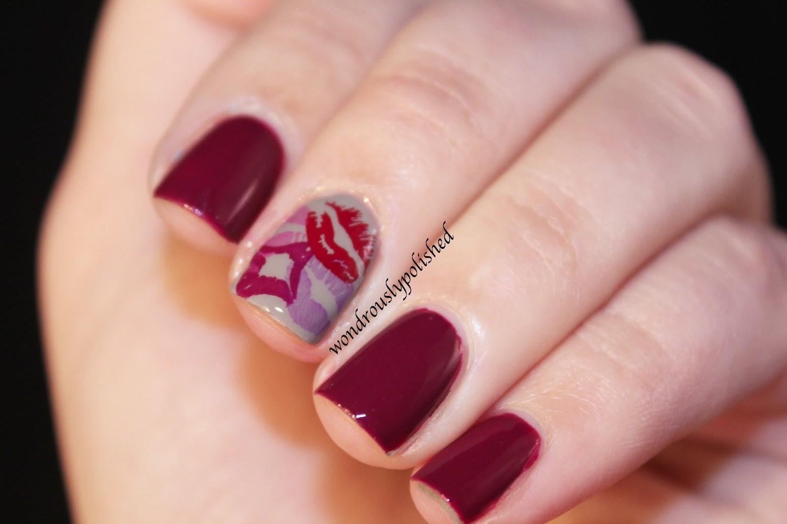 Wondrously Polished: February Nail Art Challenge - Day: Smooch!