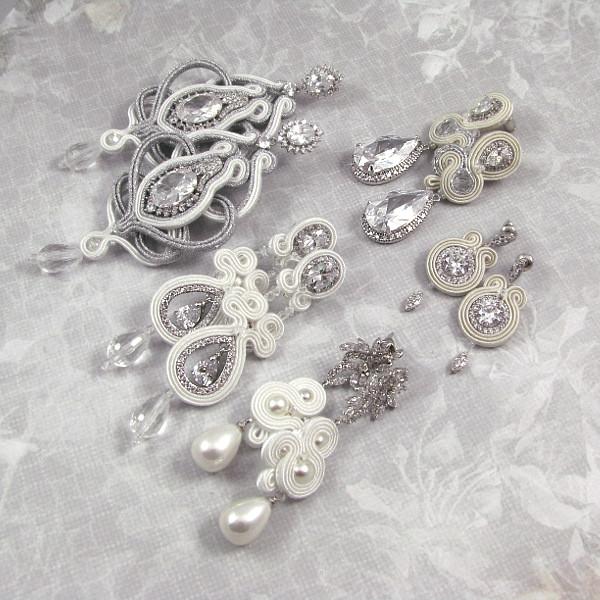 Biżuteria ślubna sutasz z kryształami śnieżnobiały, śmietankowy