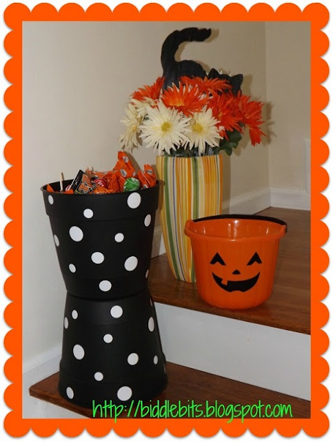 DIY polka dot flower pots