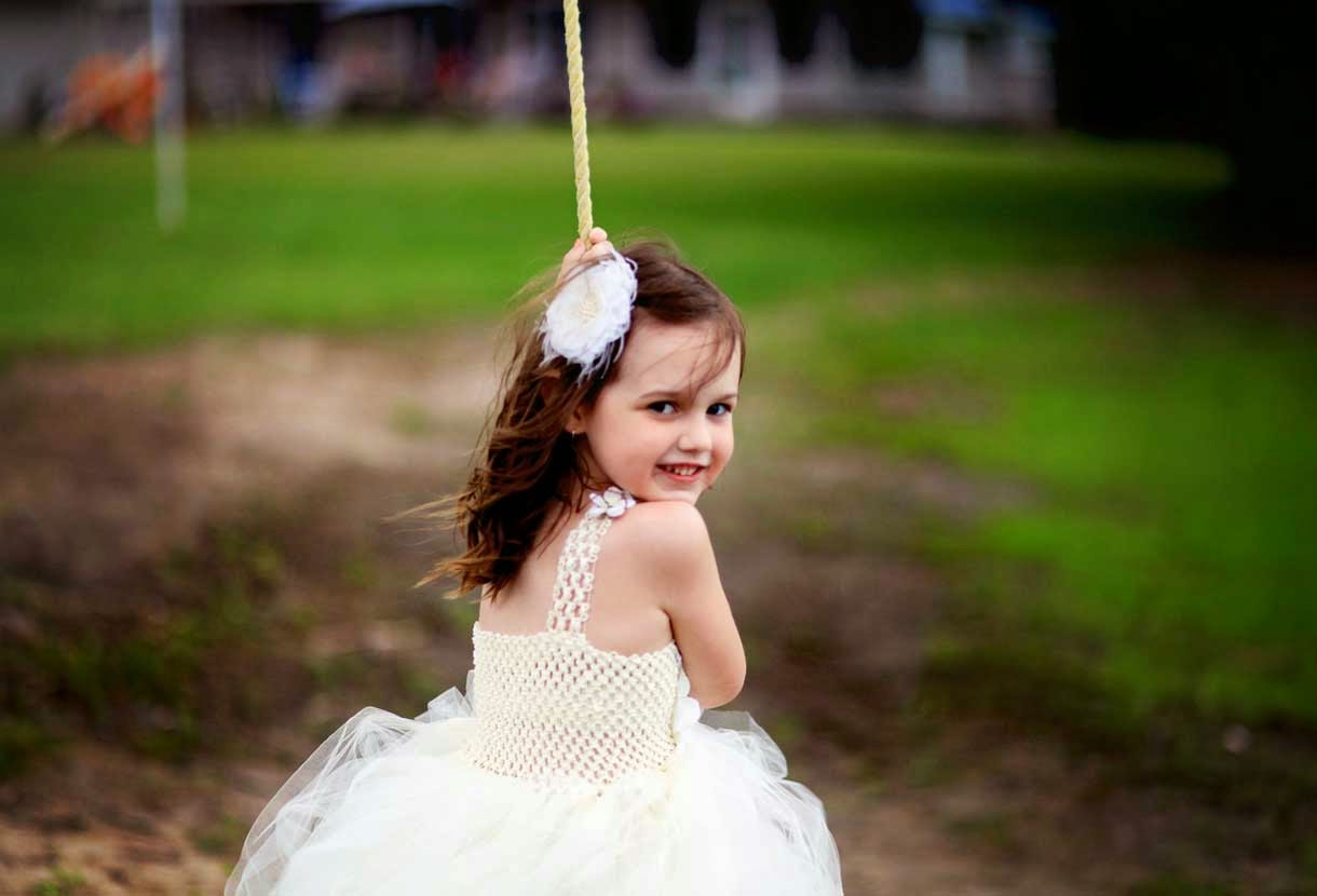 Beautiful Child in White Dress