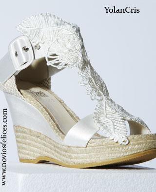 zapatos con cuña para novia.