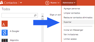 exportar contactos en Outlook