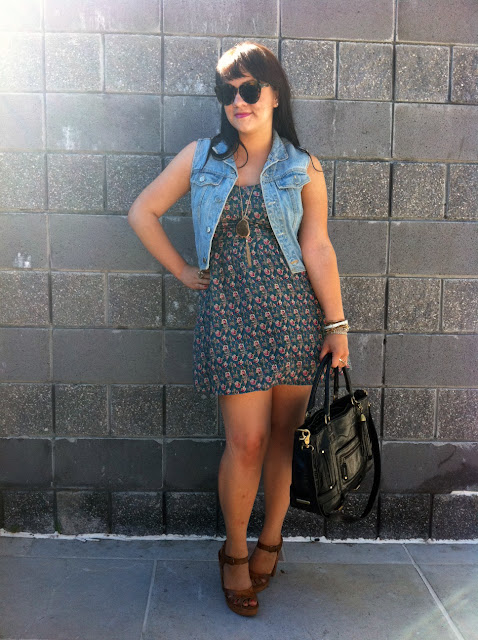 Floral dress and denim vest - Daily Outfit