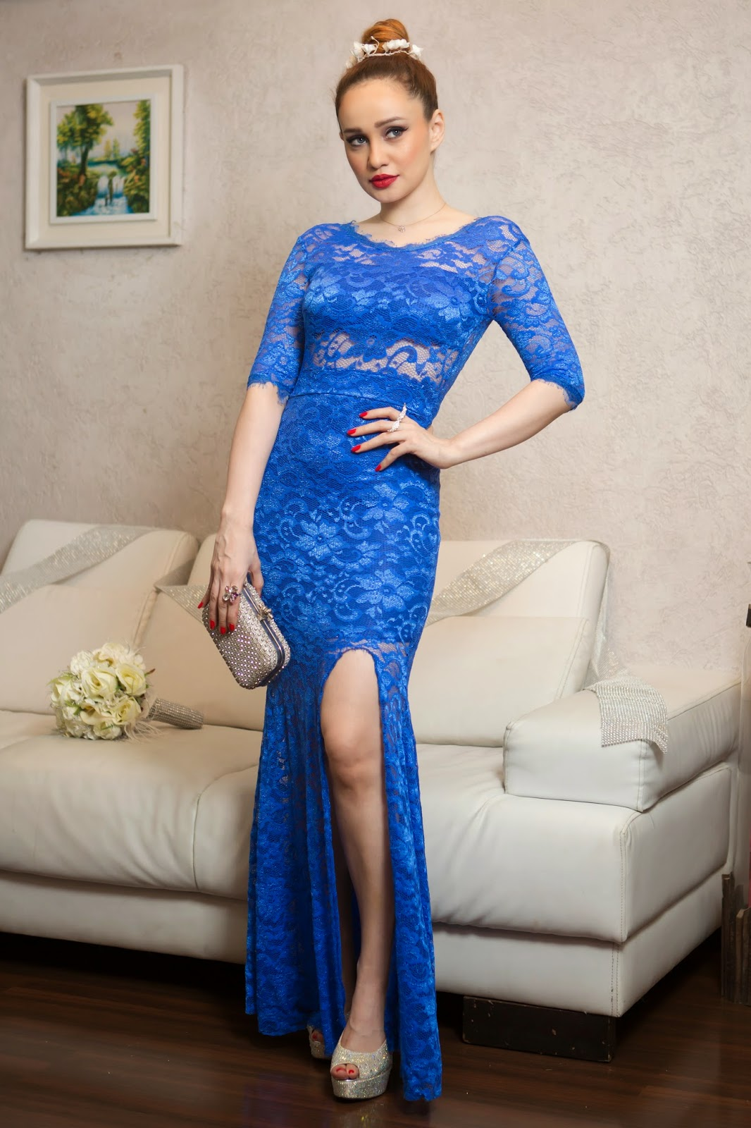 Sheinside Blue Lace Dress