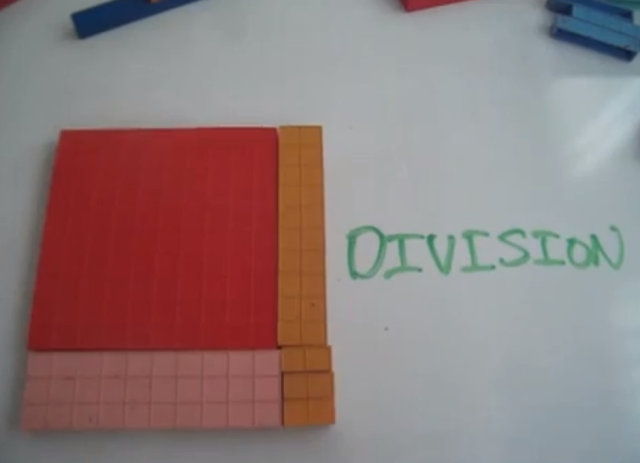 division with base ten blocks, divison with manipulatives, long division