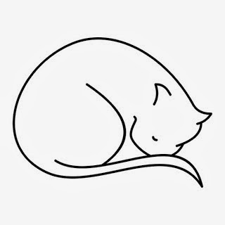 Cat sleeping tattoo stencil