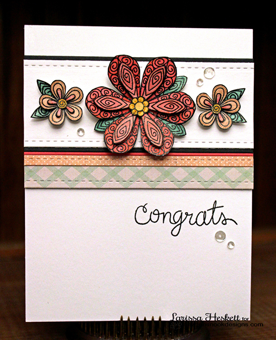 Congrats Floral Card by Larissa Heskett for the Inky Paws Challenge | Beautiful Blossoms stamp set by Newton's Nook Designs