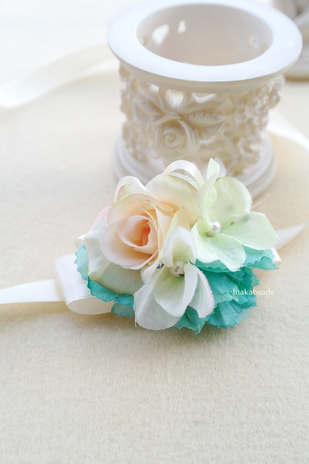 materials champagne artificial rose flower mint green u0026 light green flowers faux pearls u0026 light yellow ribbons