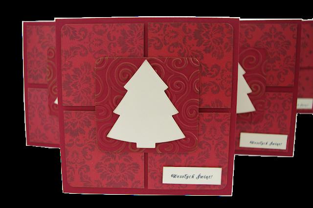 pomysł na kartkę świateczną, elegancka pocztówka świąteczna ręcznie robiona bordowa z galerii schaffar