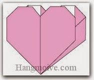 Bước 12: Hoàn thành cách xếp cái túi trái tim bằng giấy theo phong cách origami.
