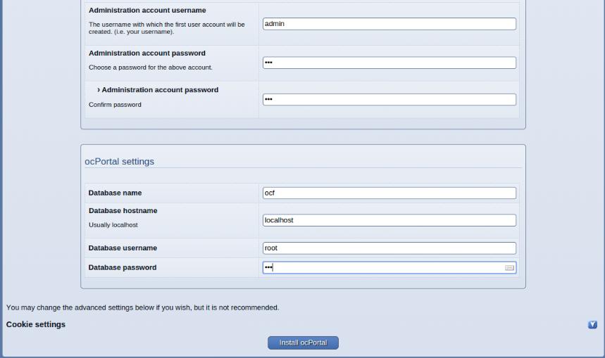 install ocportal step 4b