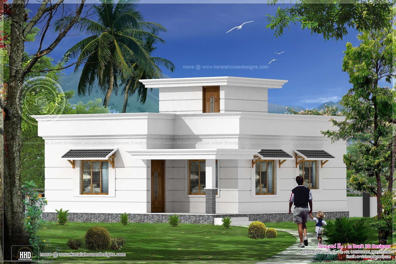 2 bed room kerala villa 1117 sq feet home kerala plans for Villa plans in kerala