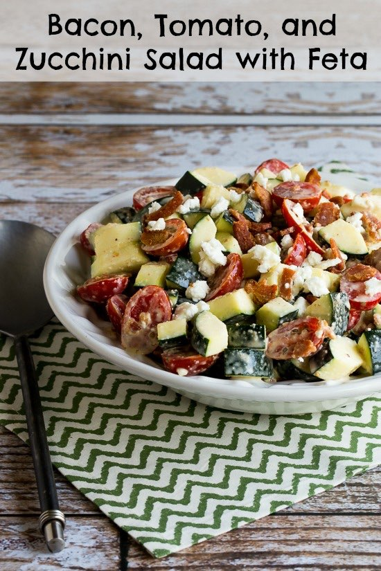 Bacon, Tomato, and Zucchini Salad Recipe with Feta (Low-Carb, Gluten-Free) found on KalynsKitchen.com.