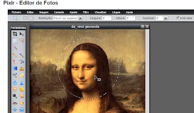 Aplicar definições corte redondo com ferramenta letreiro do Pixlr