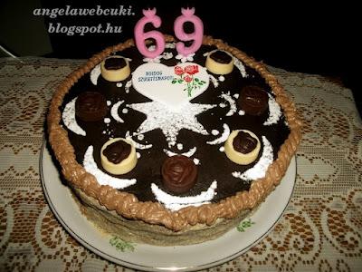 Születésnapi legyezőtorta, kakaó piskótás csokoládés torta, csigaként feltekert tésztával.