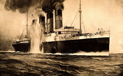 R.M.S. Lusitania, hit by torpedos