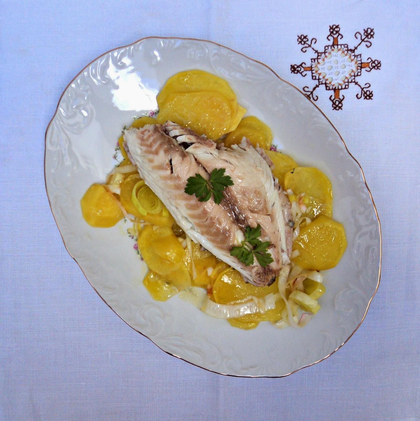 receta casera dorada, patatas, puerro, horno