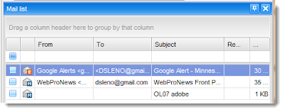 Select emails to convert to .pdf from the .eml mail list.