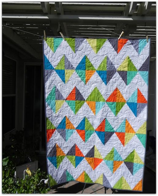 Janice Elaine Sews Kites Patchwork quilt.
