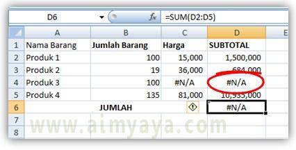 Gambar: contoh perhitungan dengan hasil error #N/A di Microsoft Excel