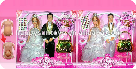 Pregnant bride and groom doll in box