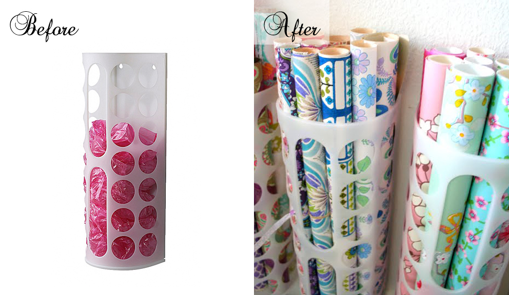 Grand Island Enterprise Ikea ~ Wrapping paper storage made from IKEA VARIERA plastic bag dispenser