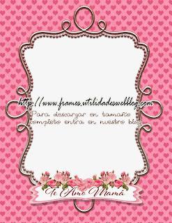 Marcos con corazones rosa para el dia de las madres