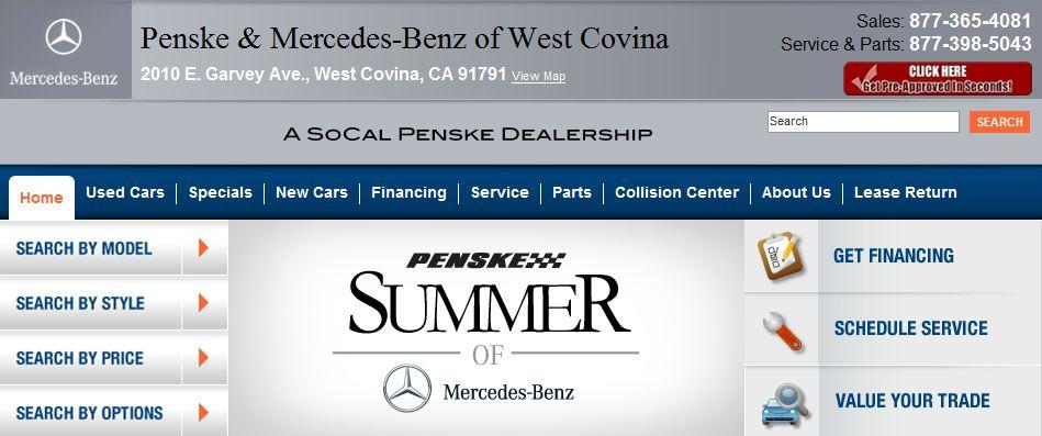 Penske Mercedes Benz Of West Covina 2010 E. Garvey Avenue West Covina, CA  91791 877 365 4081