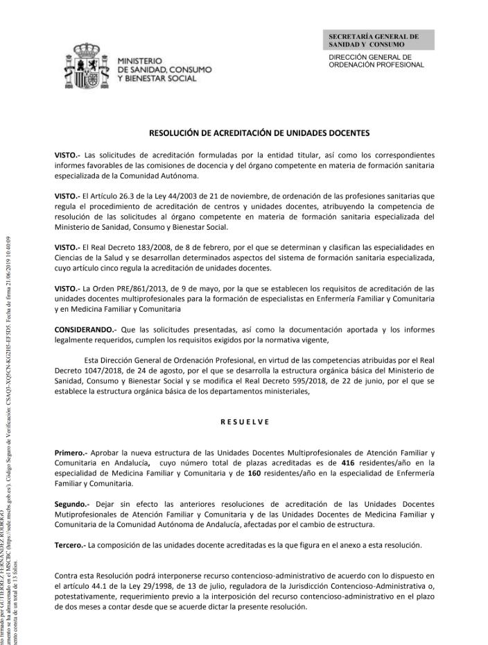 Resolución Acreditación Unidades Docentes Multiprofesionales y de Centros de Salud.