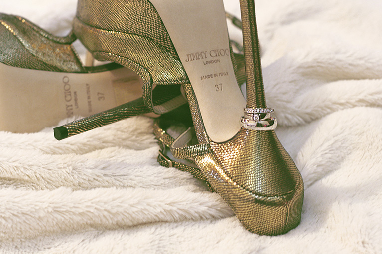 jimmy choo golden heels