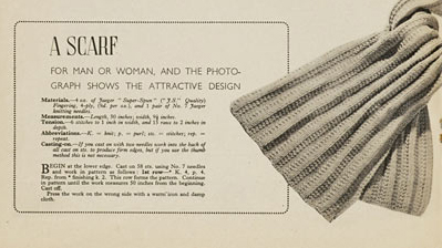 1940's Knitting Pattern - A Scarf for the forces