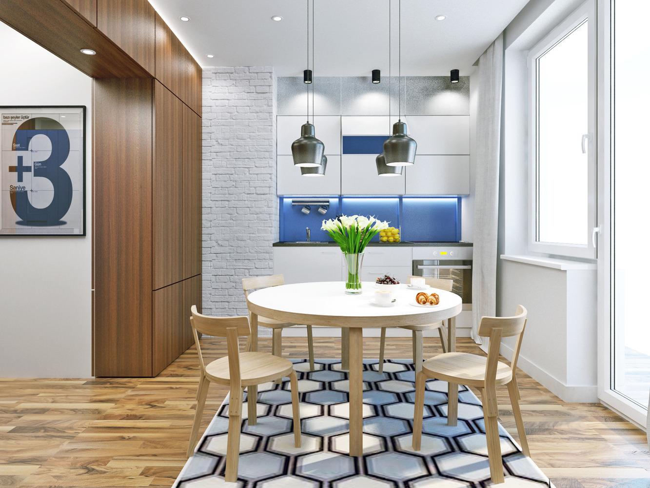 Interior moderno de um apartamento com 43 metros quadrados Móveis  #684C31 1333 1000