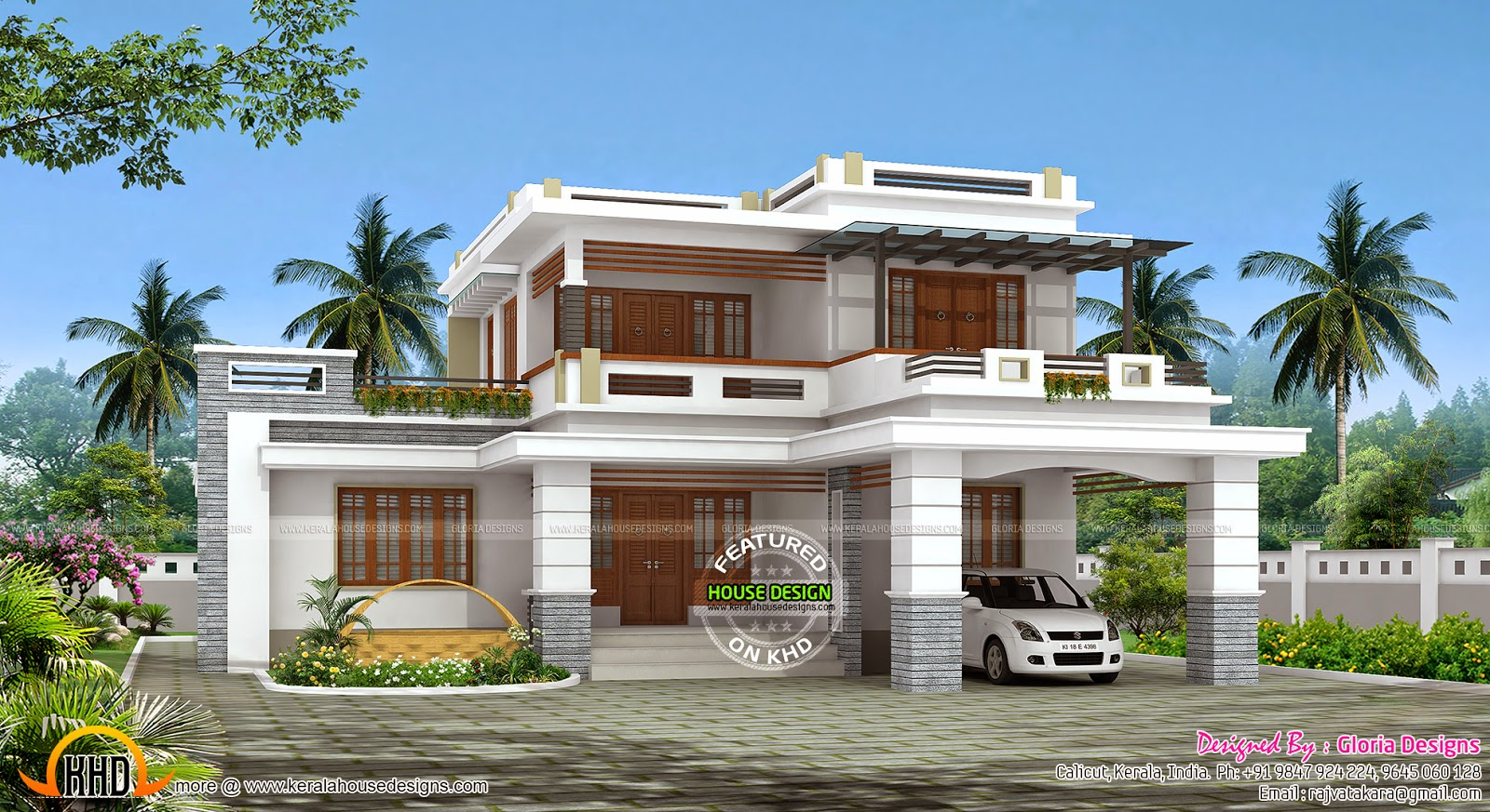 2540 sq ft decorative flat roof house kerala home design for Kerala home design flat roof elevation
