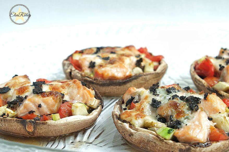 Gevulde champignons uit de oven met zalm en gorgonzola voorgerecht