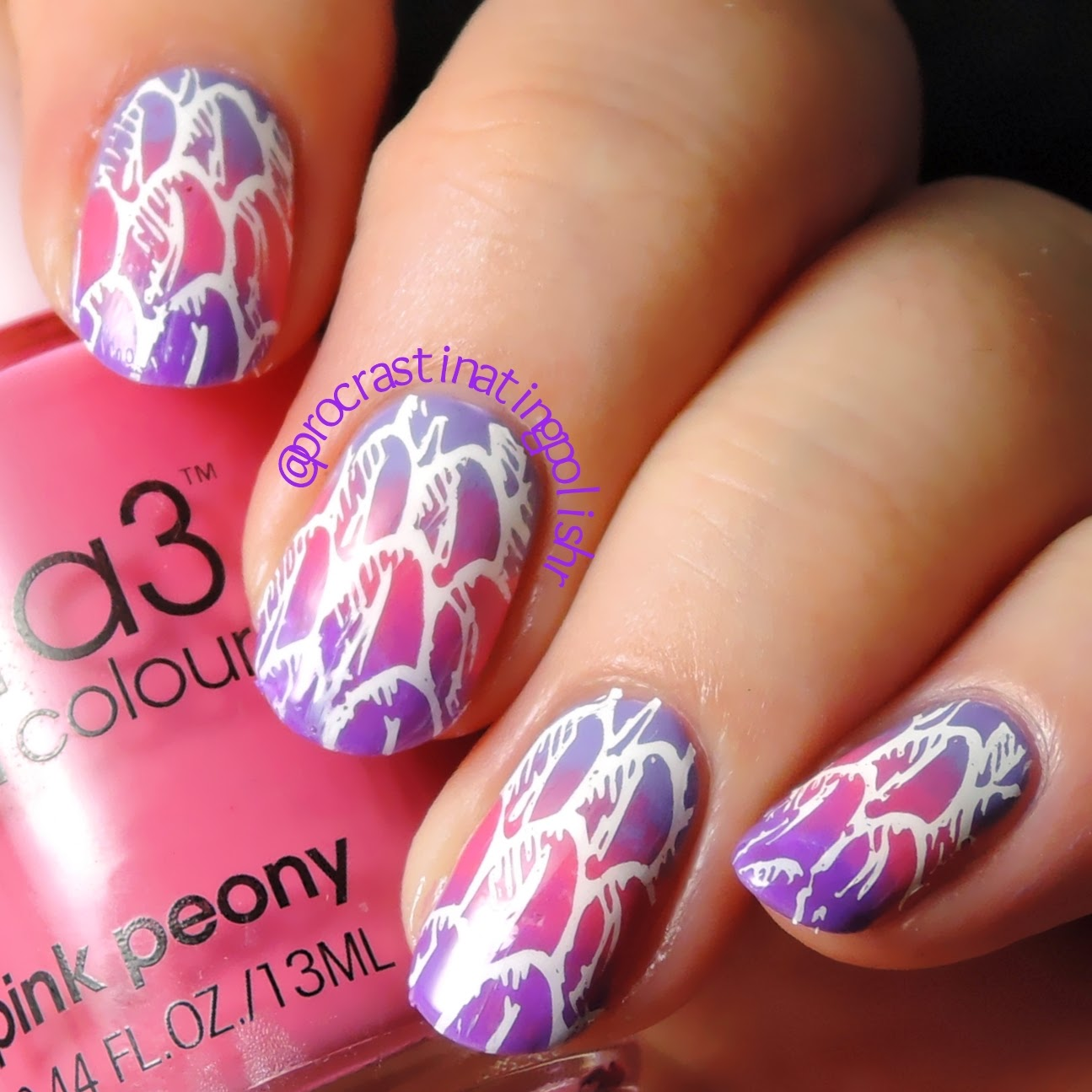 52 week challenge Week 2 - Stamped over gradient nail art