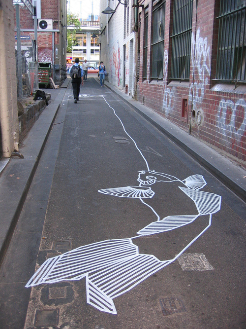 Creative Masking Tape Street Arts Seen On www.coolpicturegallery.us