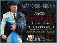 Paco Céspedes, tendrá encerrona en Ayarpongo – Churin, 16/07.