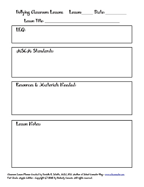 School Counselor Blog: Bullying Classroom Lesson Planner Printable