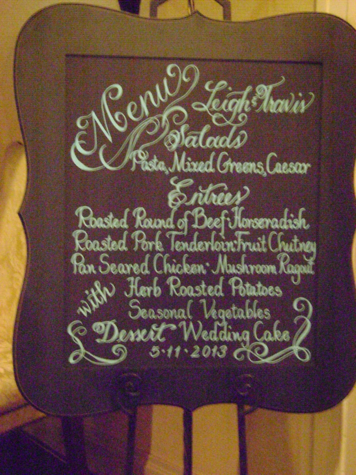 Art for You : Wedding Menu on a Chalkboard