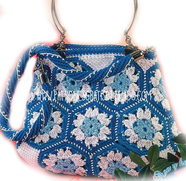 bolso grannys hexagonos  para tejer al crochet
