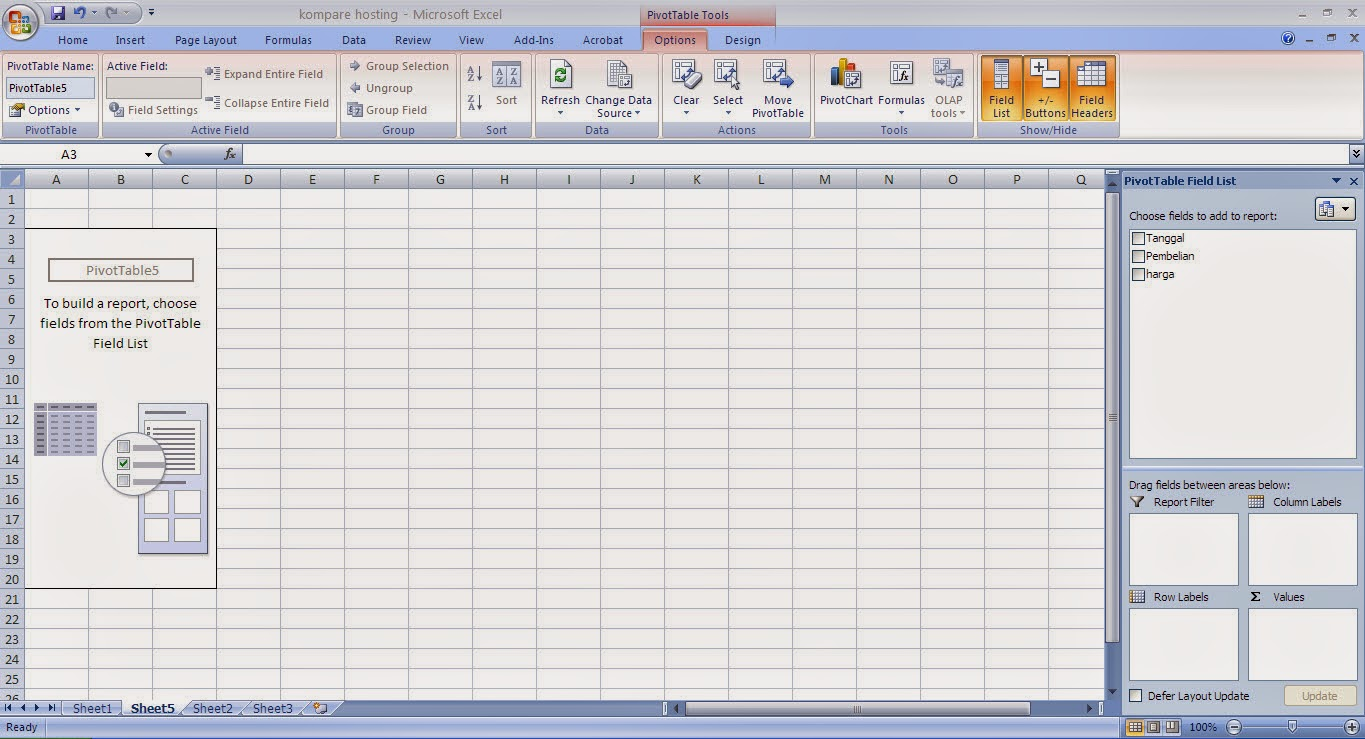 Fungsi Privot Table Excel 2007
