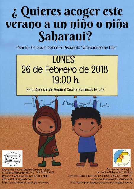 lunes 26 ¿quieres ser solidario con el Pueblo Saharaui?