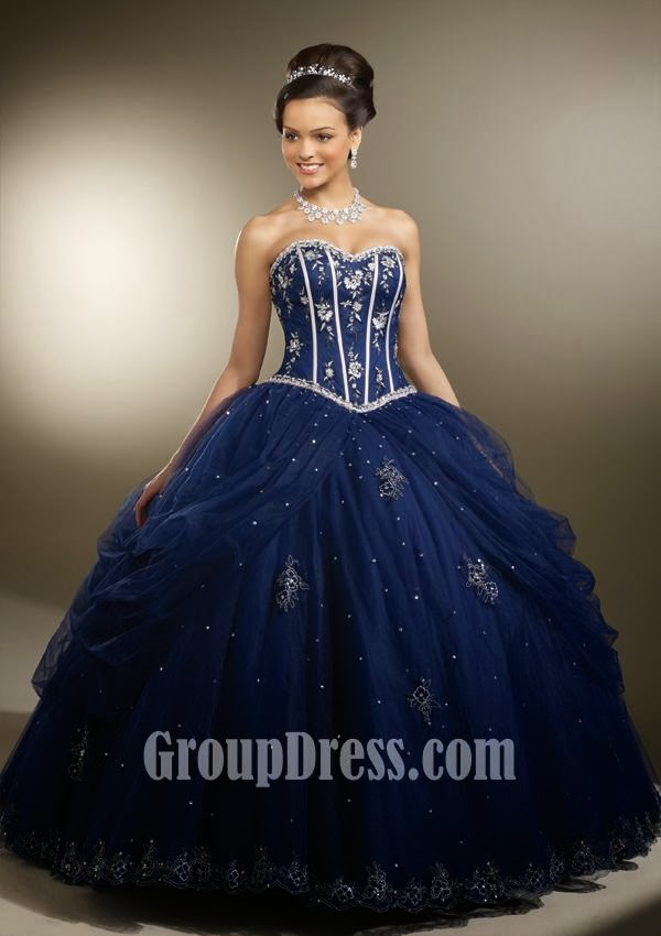 Navy Embroidered Satin and Tulle Quinceanera Dress
