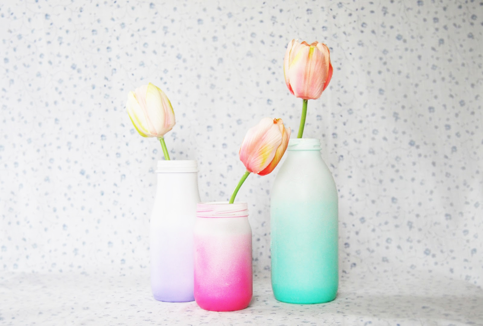 the pink doormat spray painted ombre glass bottles