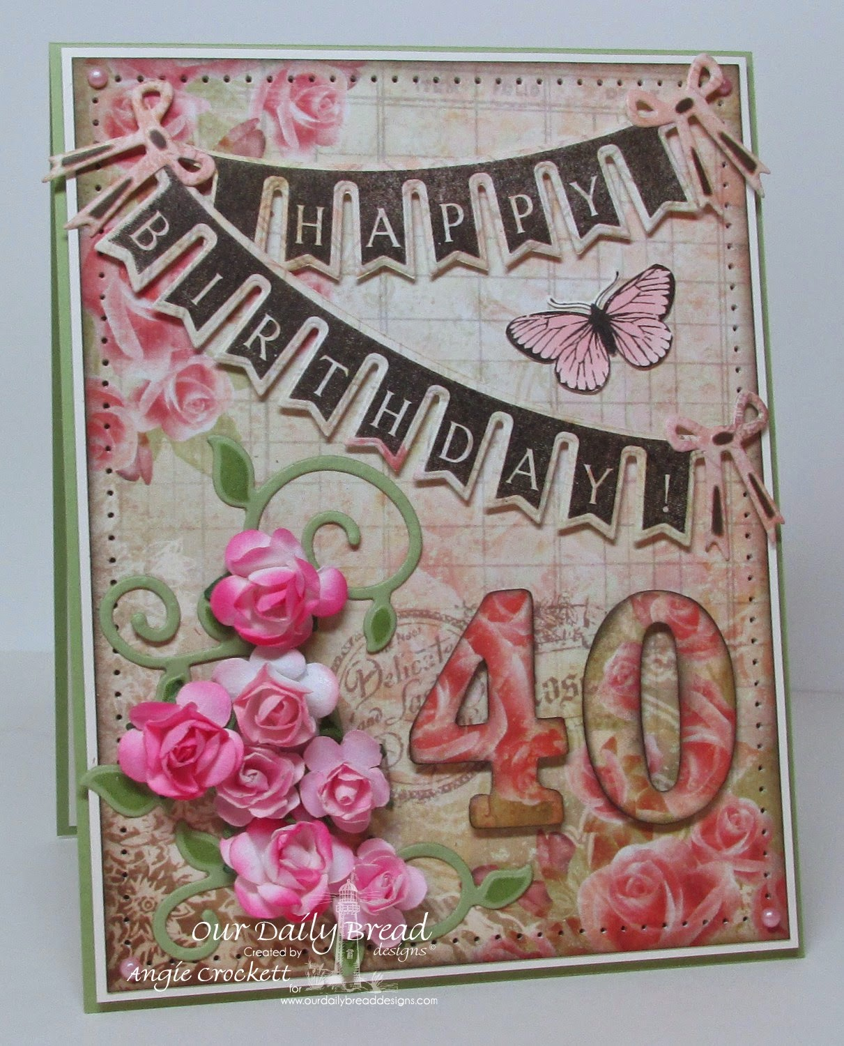 ODBD Pennant Swag Die, Pennant Swag 2, Blushing Rose Collection, ODBD Custom Fancy Foliage Dies, Butterfly Stamped-By Mini, Card Designer Angie Crockett