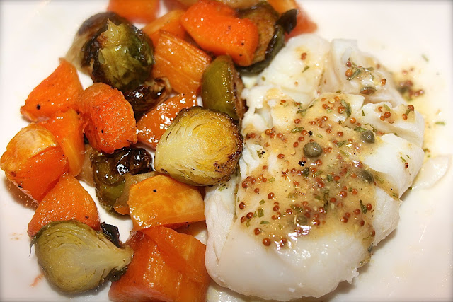 mustard cod with squash & brussels sprouts