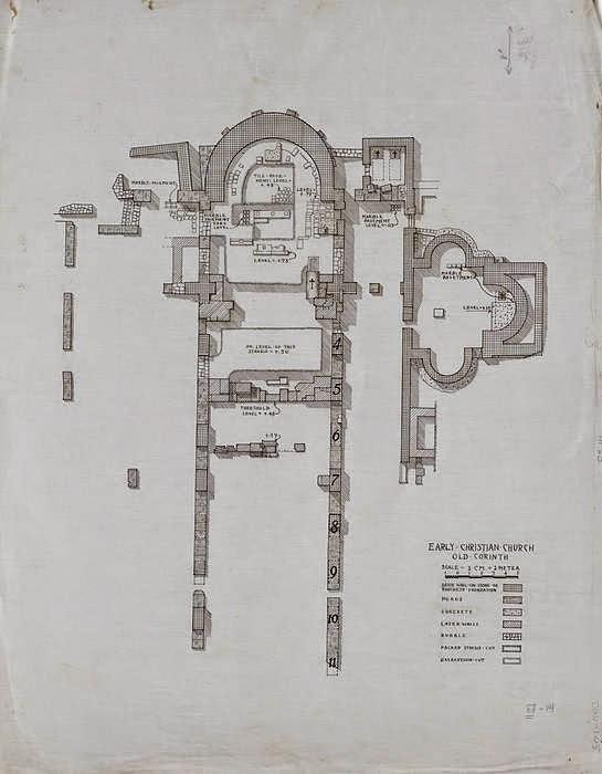 Ρομποτική-Λειτουργική μορφή στο σχέδιο ναού της Χριστιανικής βασιλικής Λεχαίου.