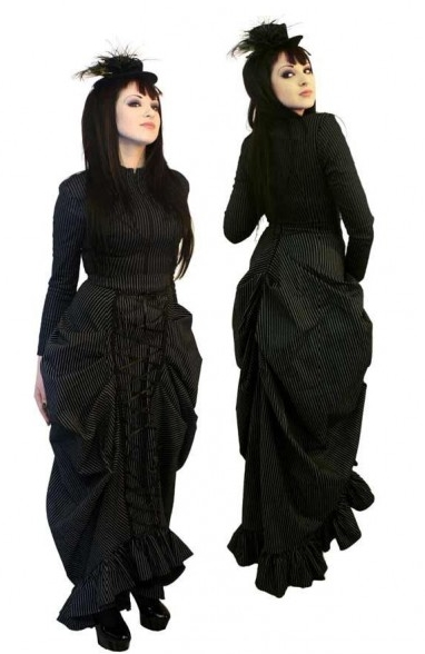 Gothic Victorian Pinstripe Steampunk Dress